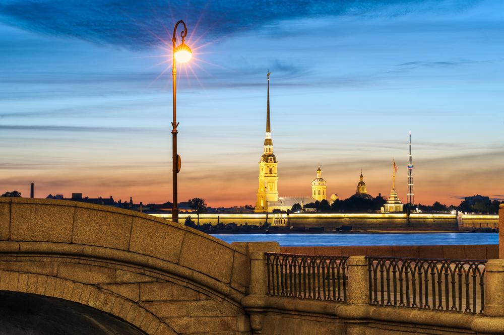 Dämmerung, Brücke, Straßenlaterne, Fluss, Kirche, St. Petersburg Weiße Nächte